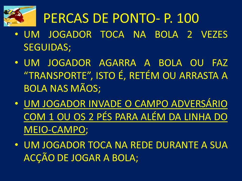 PERCAS DE PONTO- P. 100 UM JOGADOR TOCA NA BOLA 2 VEZES SEGUIDAS;