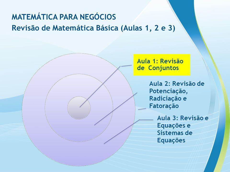 MATEMÁTICA PARA NEGÓCIOS Revisão de Matemática Básica (Aulas 1, 2 e 3)