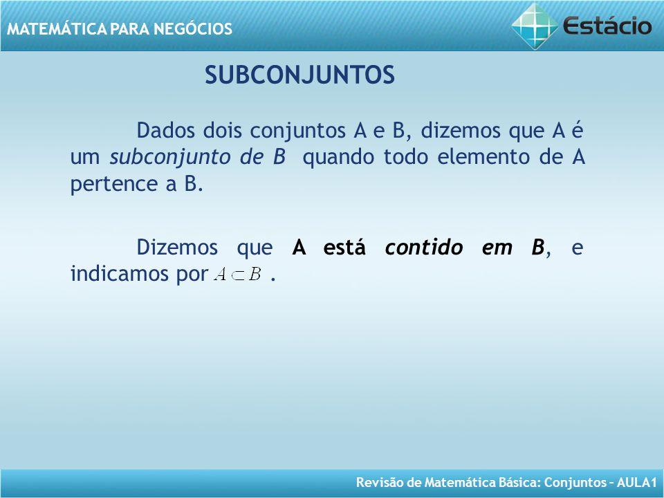 SUBCONJUNTOS Dados dois conjuntos A e B, dizemos que A é um subconjunto de B quando todo elemento de A pertence a B.