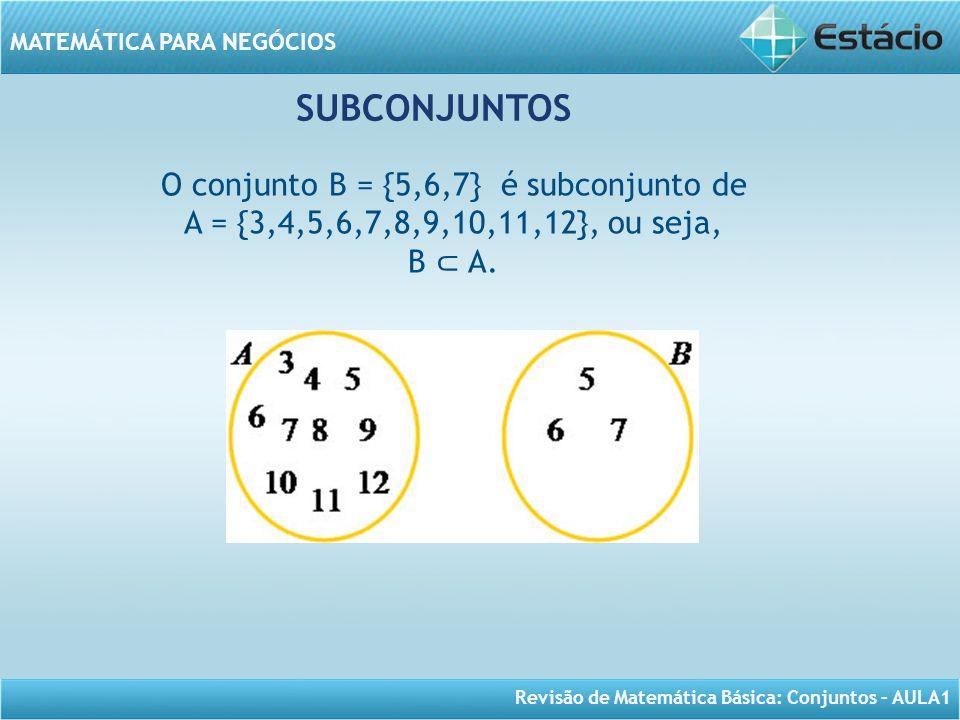 O conjunto B = {5,6,7} é subconjunto de