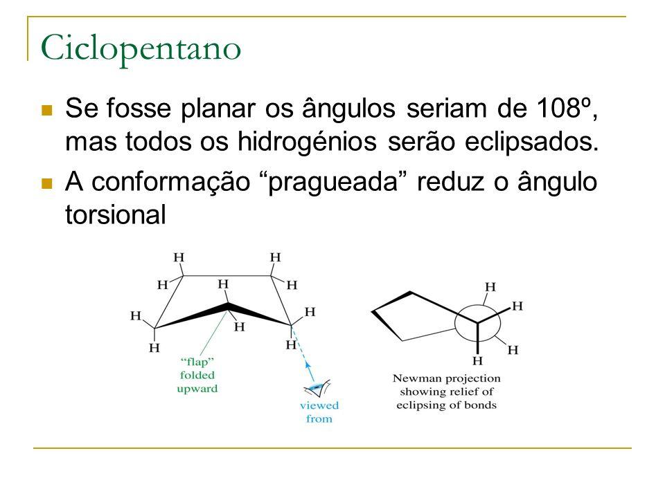 Ciclopentano Se fosse planar os ângulos seriam de 108º, mas todos os hidrogénios serão eclipsados.