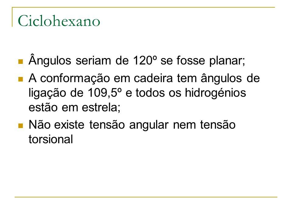 Ciclohexano Ângulos seriam de 120º se fosse planar;