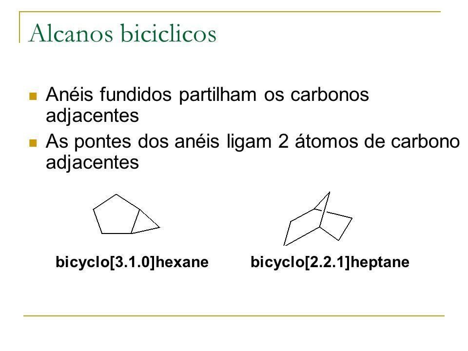 Alcanos biciclicos Anéis fundidos partilham os carbonos adjacentes
