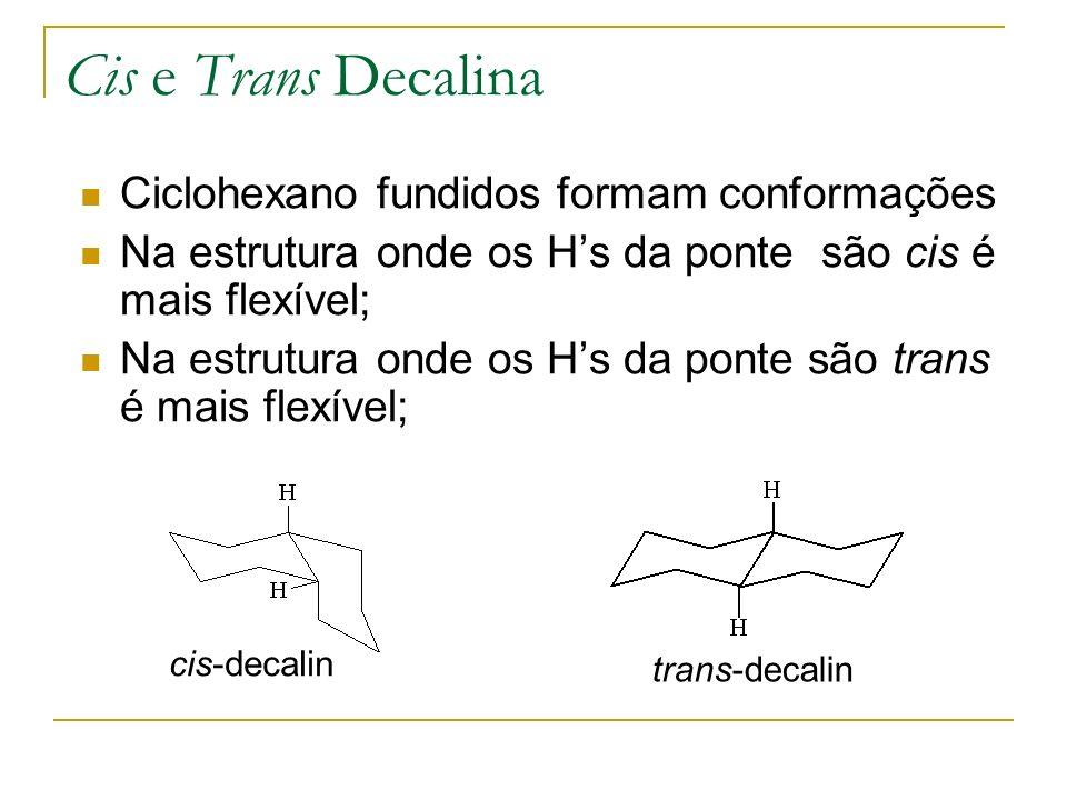Cis e Trans Decalina Ciclohexano fundidos formam conformações
