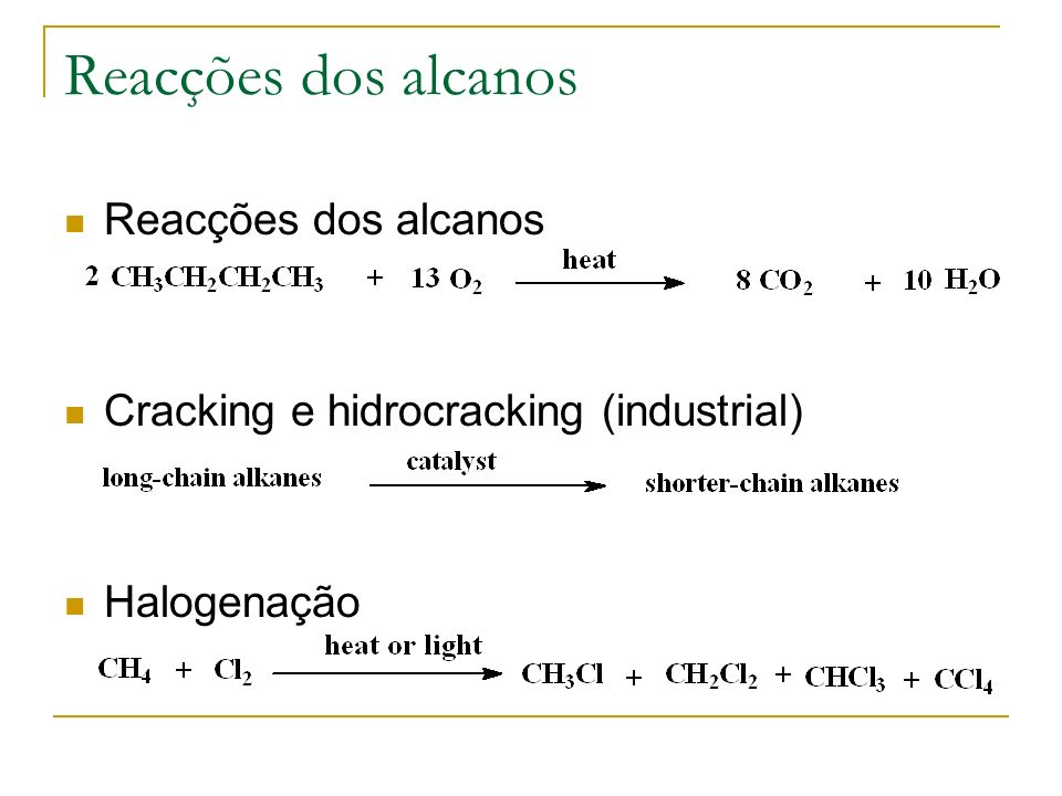 Reacções dos alcanos Reacções dos alcanos