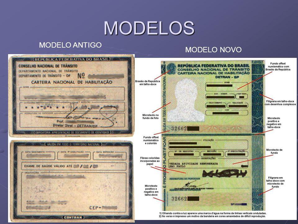 MODELOS MODELO ANTIGO MODELO NOVO
