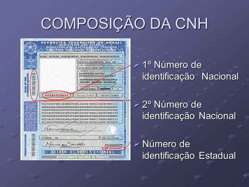 COMPOSIÇÃO DA CNH 1º Número de identificação Nacional