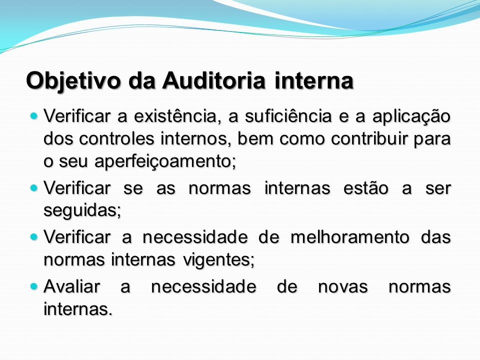 Objetivo da Auditoria interna