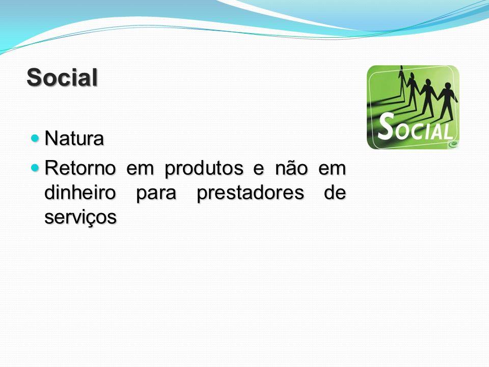 Social Natura Retorno em produtos e não em dinheiro para prestadores de serviços