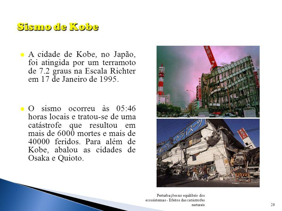 Sismo de Kobe A cidade de Kobe, no Japão, foi atingida por um terramoto de 7.2 graus na Escala Richter em 17 de Janeiro de 1995.