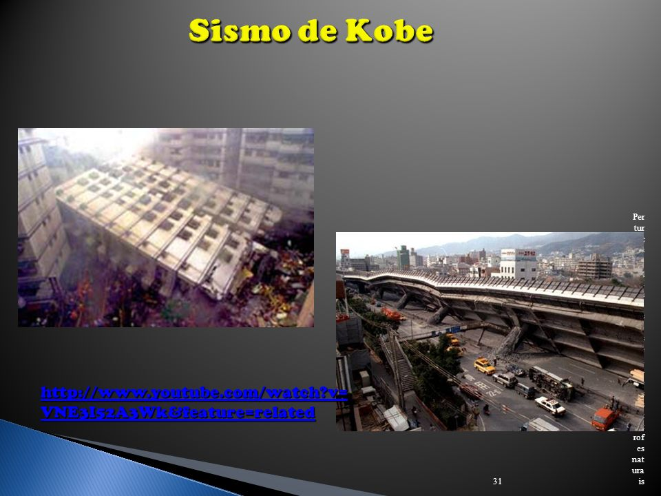 Sismo de Kobe http://www.youtube.com/watch v=VNE3I52A3Wk&feature=related.