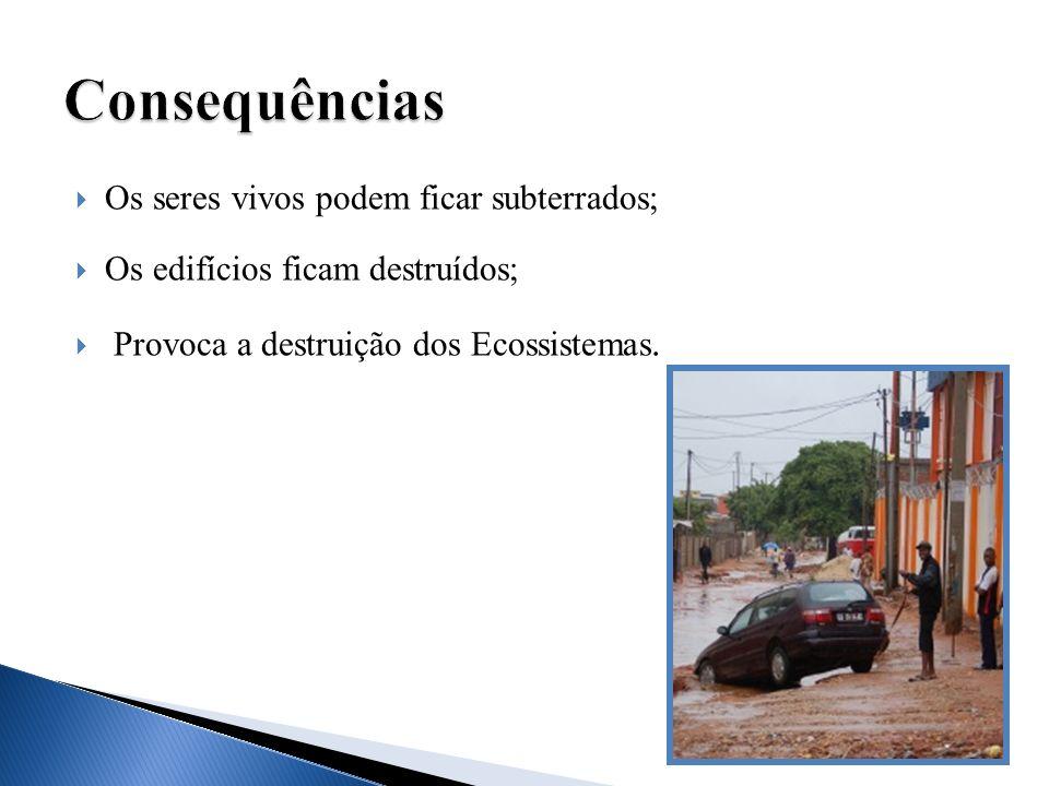 Consequências Os seres vivos podem ficar subterrados;