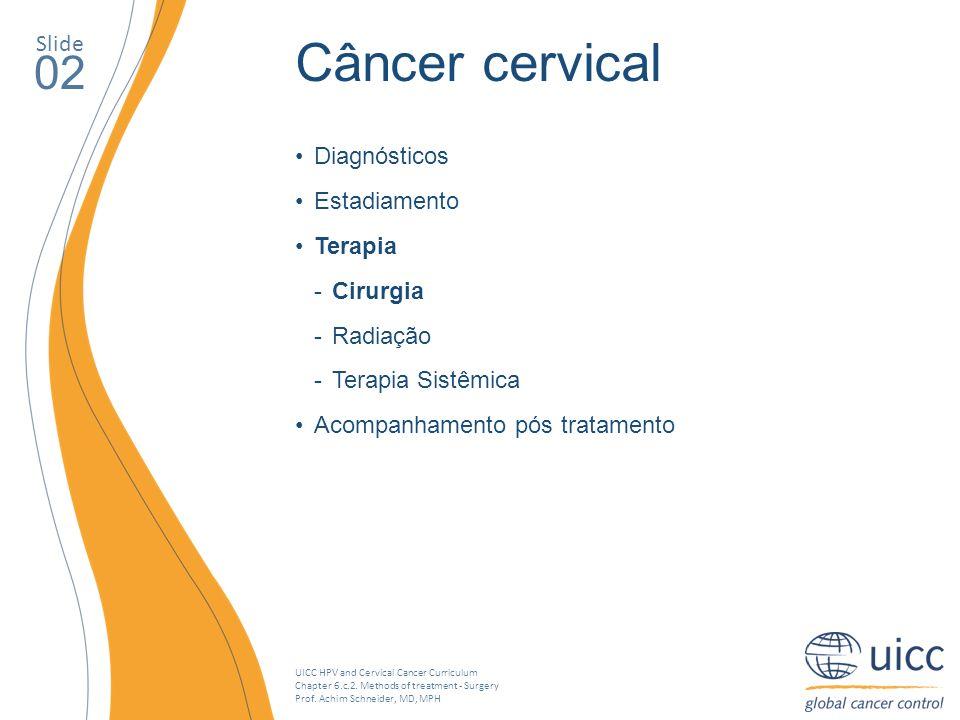 Câncer cervical 02 Slide Diagnósticos Estadiamento Terapia Cirurgia