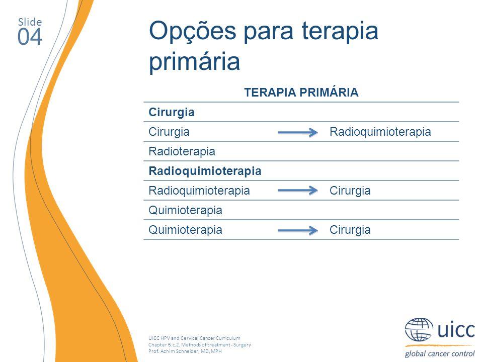 Opções para terapia primária