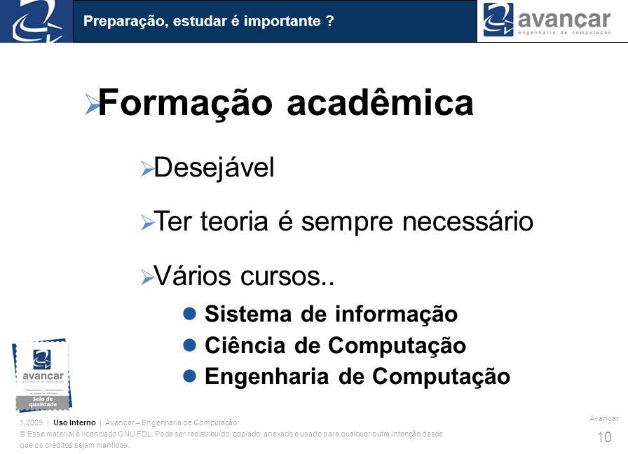 Formação acadêmica Desejável Ter teoria é sempre necessário