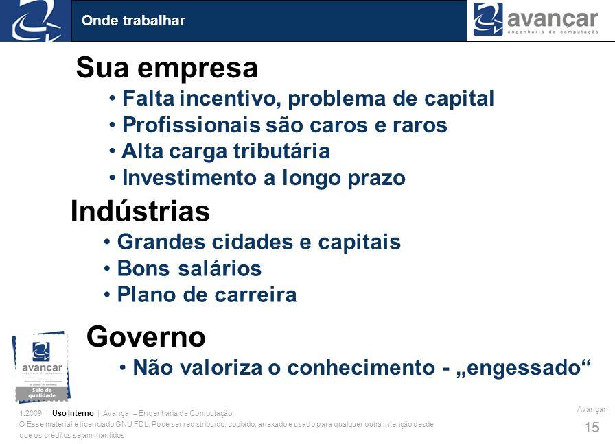 Sua empresa Indústrias Governo Falta incentivo, problema de capital