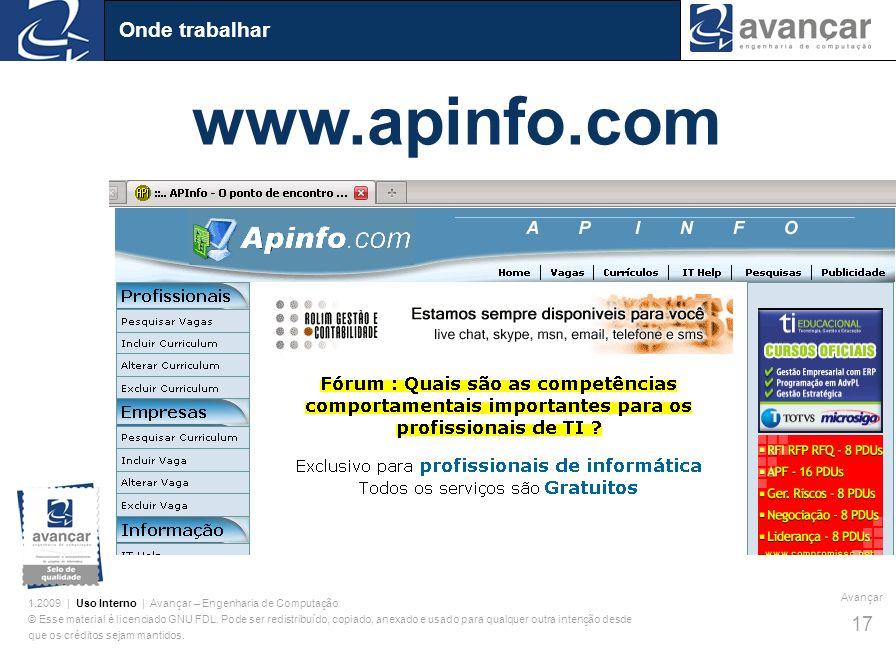 Onde trabalhar www.apinfo.com
