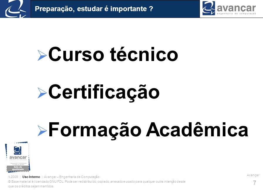 Curso técnico Certificação Formação Acadêmica