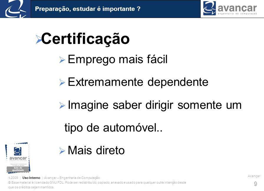 Certificação Emprego mais fácil Extremamente dependente