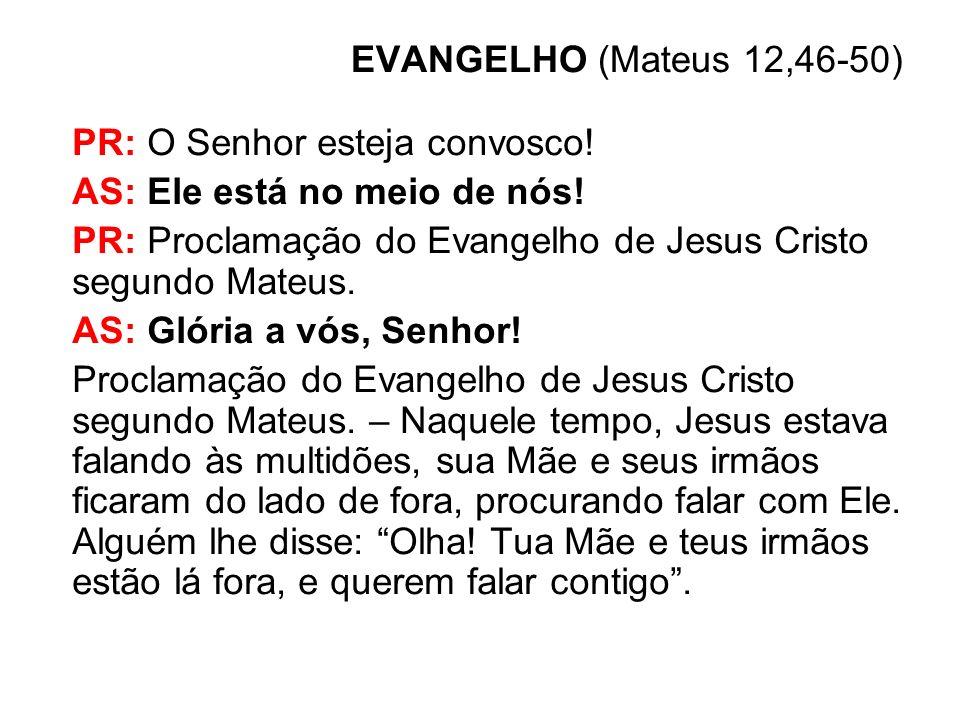 EVANGELHO (Mateus 12,46-50) PR: O Senhor esteja convosco! AS: Ele está no meio de nós! PR: Proclamação do Evangelho de Jesus Cristo segundo Mateus.