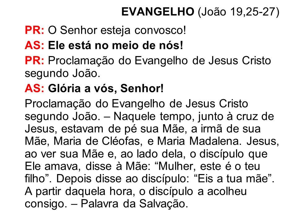 EVANGELHO (João 19,25-27) PR: O Senhor esteja convosco! AS: Ele está no meio de nós! PR: Proclamação do Evangelho de Jesus Cristo segundo João.