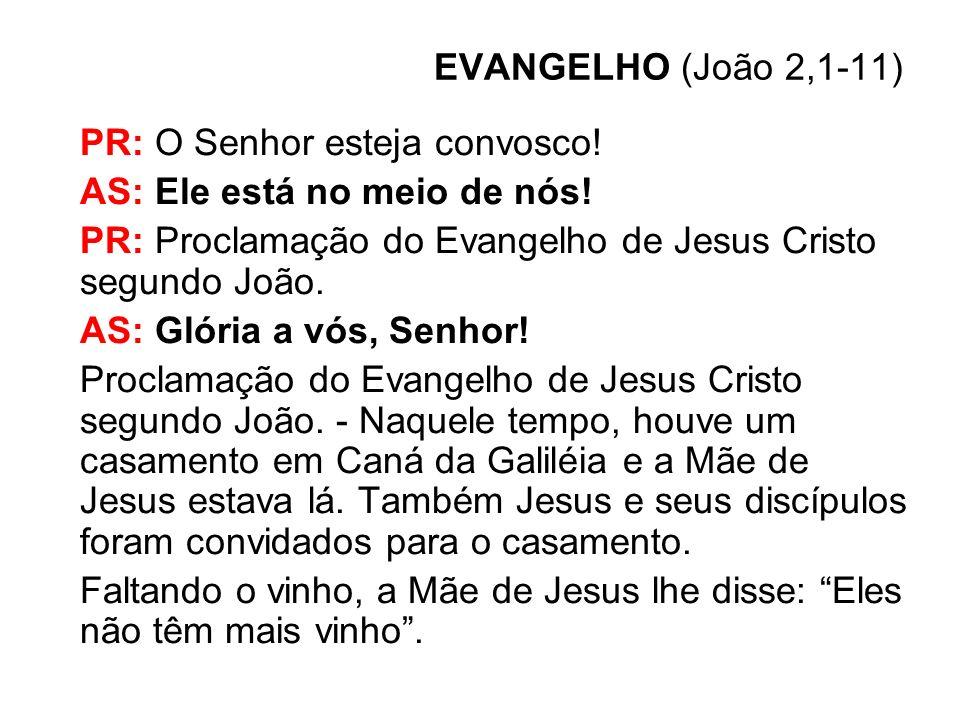 EVANGELHO (João 2,1-11) PR: O Senhor esteja convosco! AS: Ele está no meio de nós! PR: Proclamação do Evangelho de Jesus Cristo segundo João.