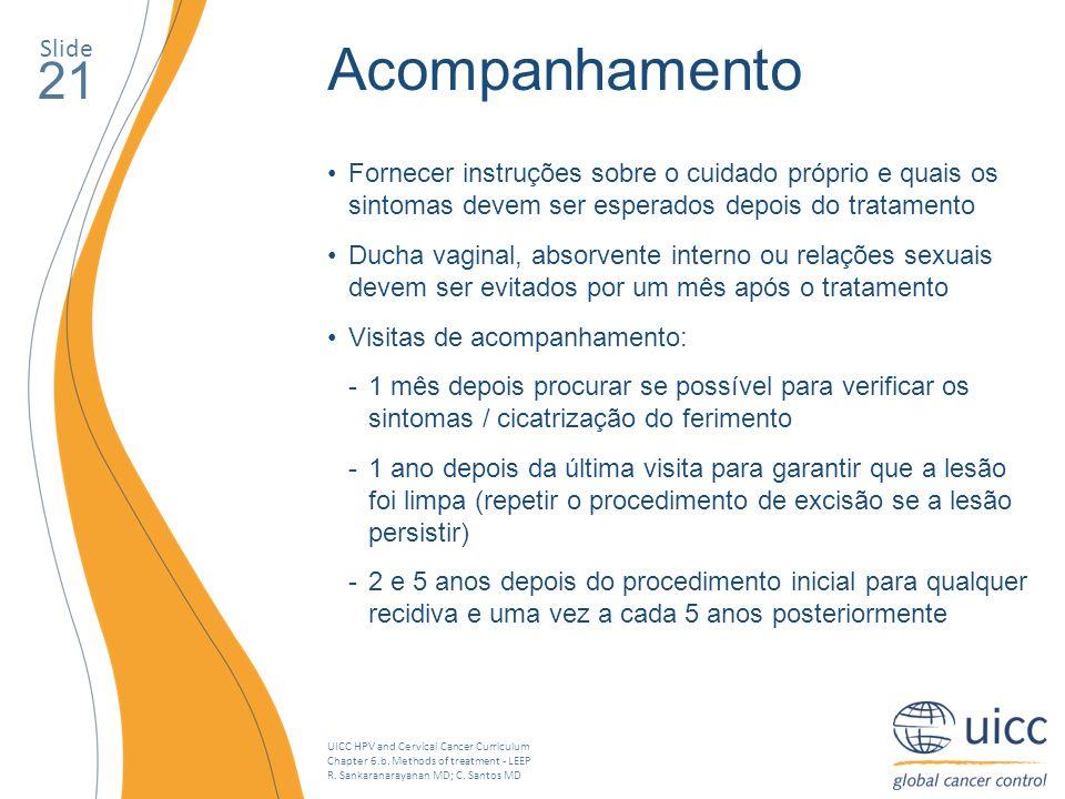 Slide Acompanhamento. 21. Fornecer instruções sobre o cuidado próprio e quais os sintomas devem ser esperados depois do tratamento.