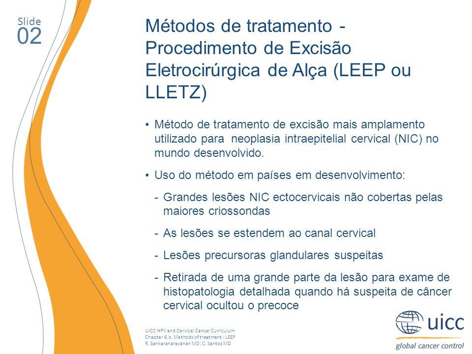 Slide Métodos de tratamento - Procedimento de Excisão Eletrocirúrgica de Alça (LEEP ou LLETZ) 02.