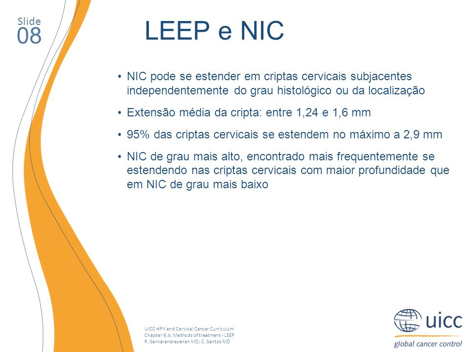 Slide LEEP e NIC. 08. NIC pode se estender em criptas cervicais subjacentes independentemente do grau histológico ou da localização.