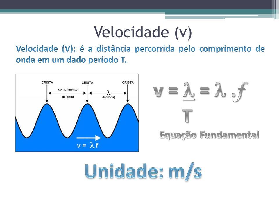 v =  =  .f T Unidade: m/s Velocidade (v) Equação Fundamental