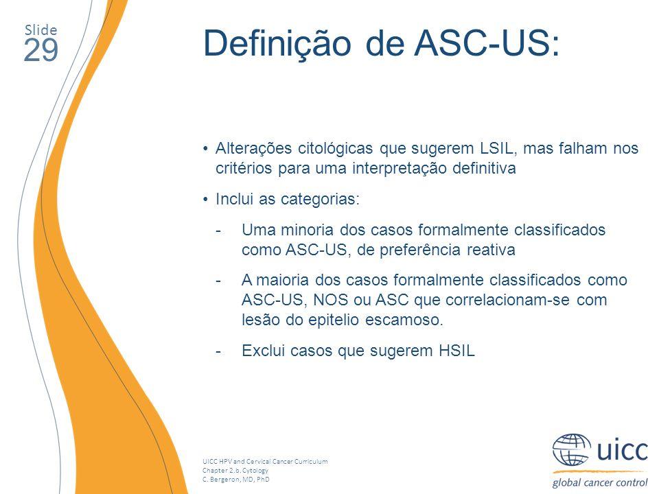 Definição de ASC-US: 29 Slide