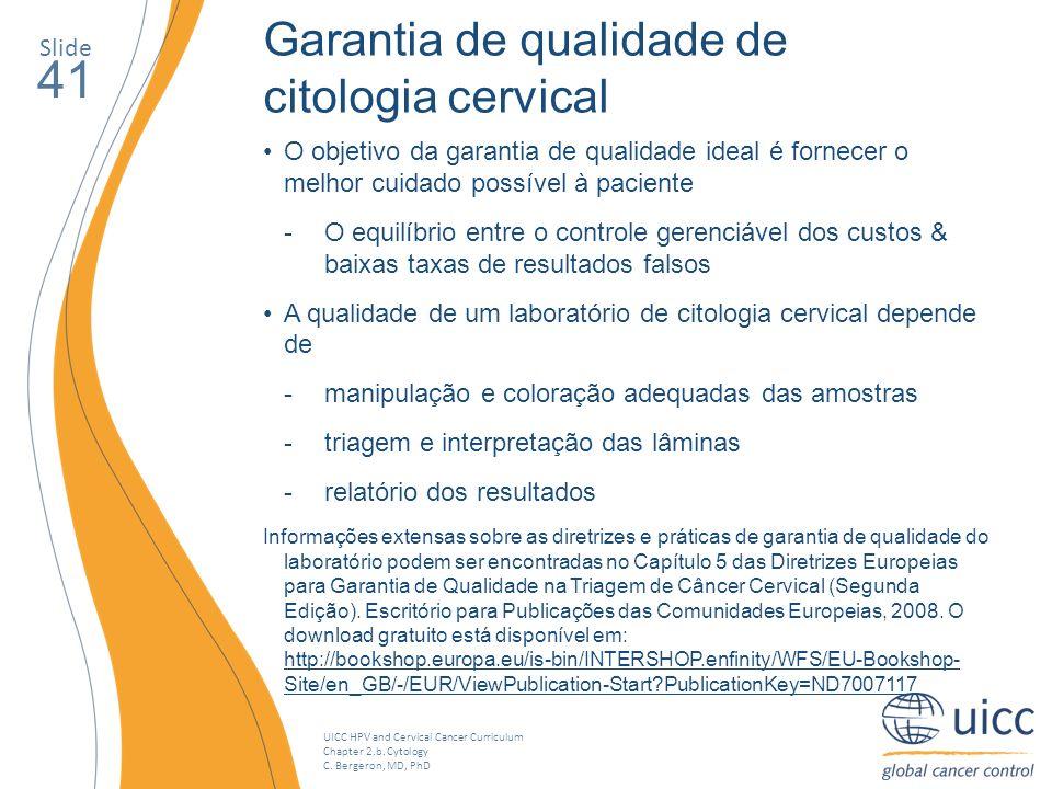 41 Garantia de qualidade de citologia cervical Slide