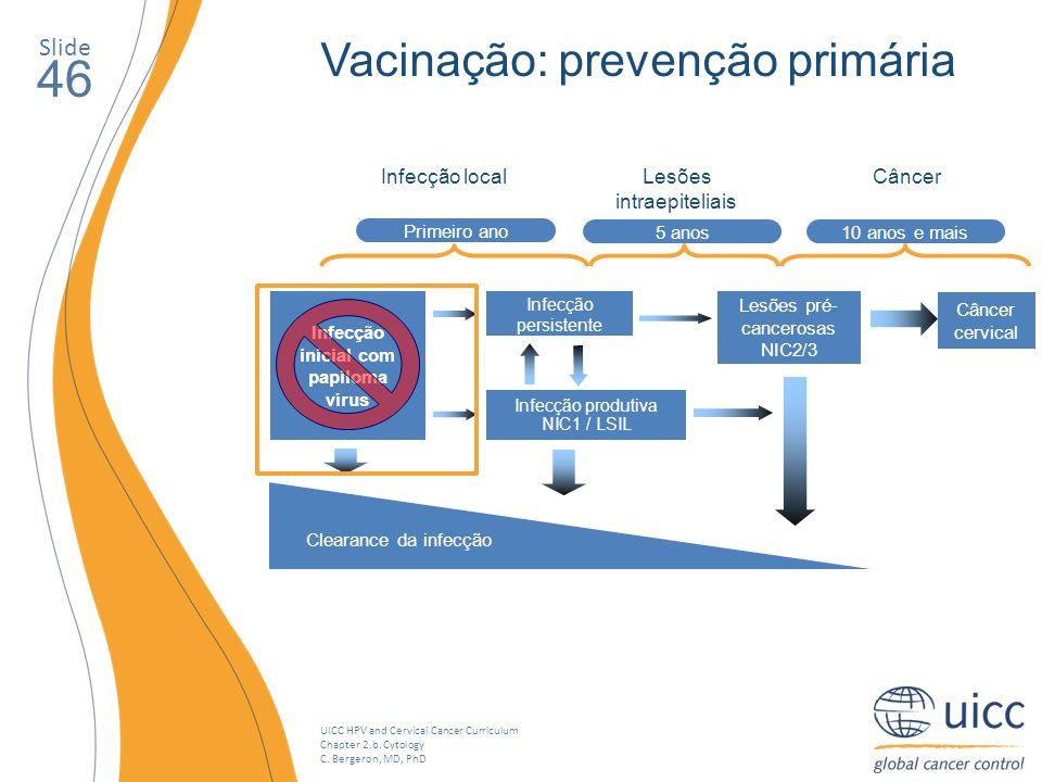46 Vacinação: prevenção primária Slide Lesões intraepiteliais