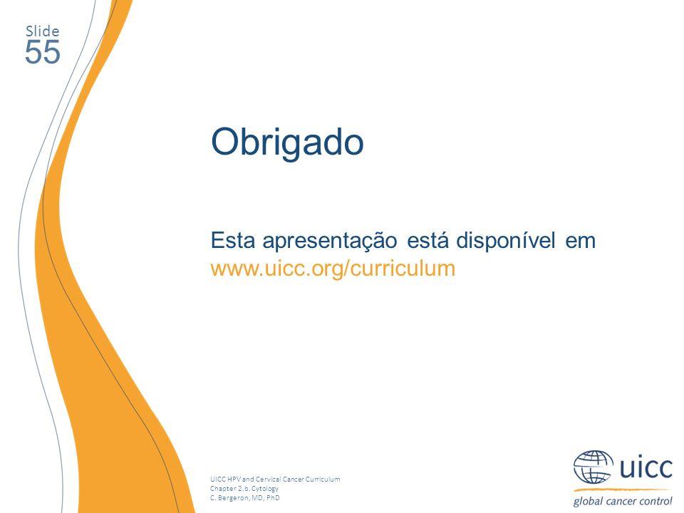 Slide 55. Obrigado. Esta apresentação está disponível em www.uicc.org/curriculum.