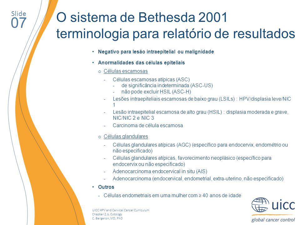 Slide O sistema de Bethesda 2001. terminologia para relatório de resultados. 07. Negativo para lesão intraepitelial ou malignidade.