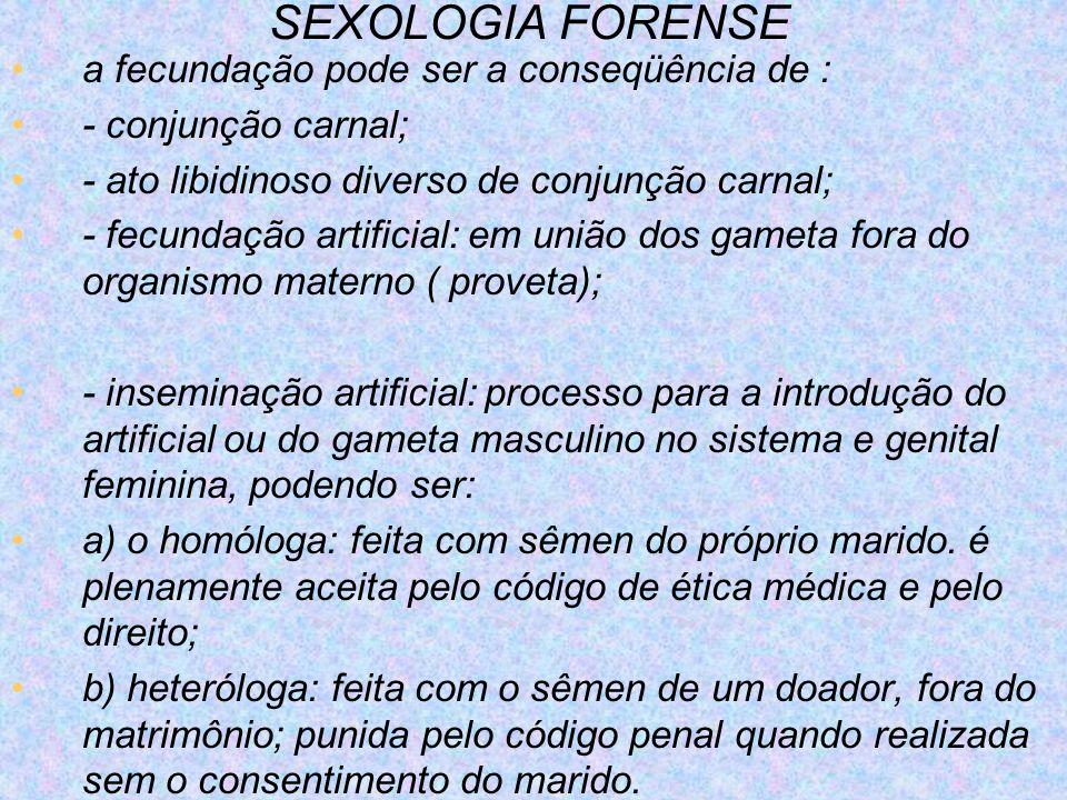 SEXOLOGIA FORENSE a fecundação pode ser a conseqüência de :