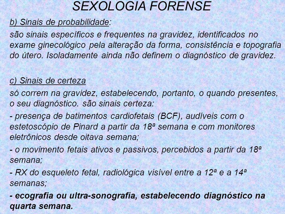 SEXOLOGIA FORENSE b) Sinais de probabilidade:
