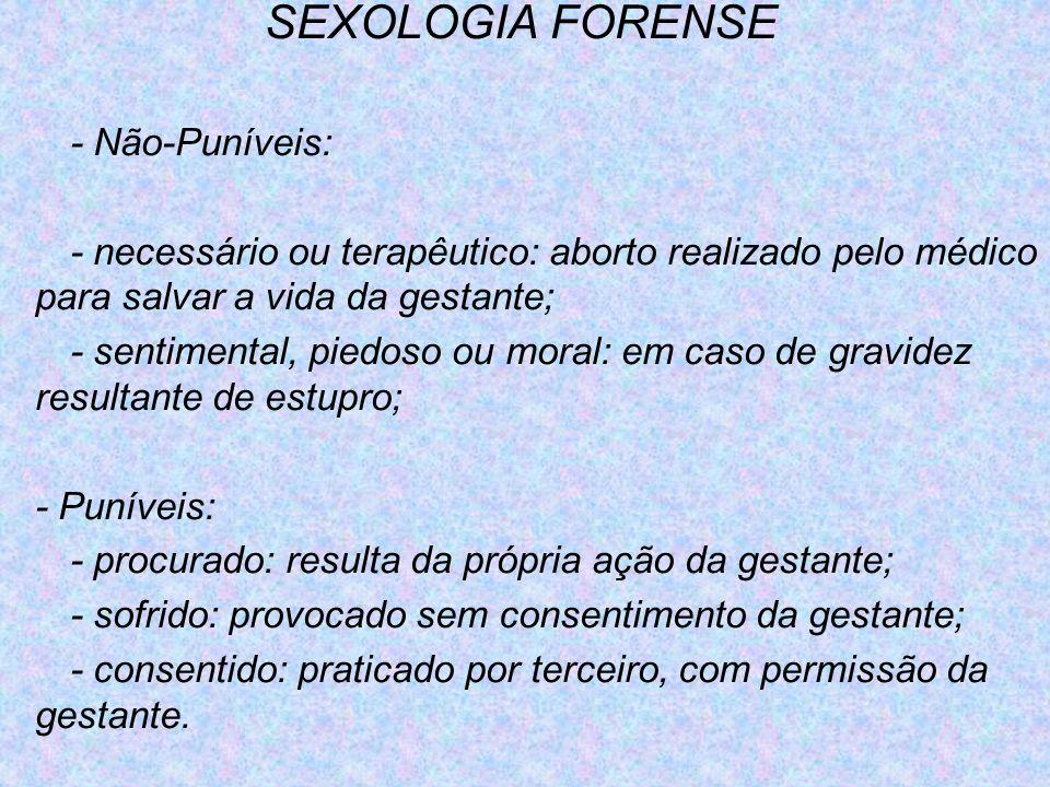 SEXOLOGIA FORENSE - Não-Puníveis: