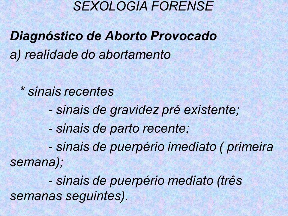 SEXOLOGIA FORENSE Diagnóstico de Aborto Provocado. a) realidade do abortamento. * sinais recentes.