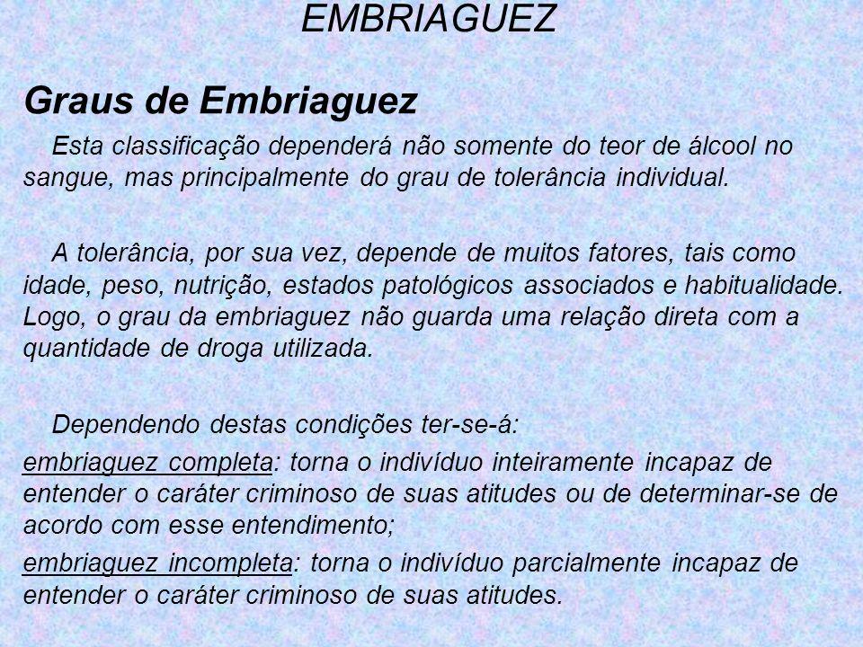 EMBRIAGUEZ Graus de Embriaguez
