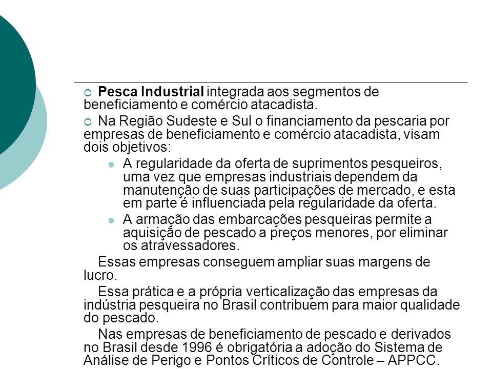 Pesca Industrial integrada aos segmentos de beneficiamento e comércio atacadista.