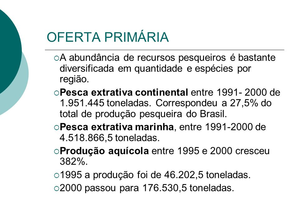 OFERTA PRIMÁRIA A abundância de recursos pesqueiros é bastante diversificada em quantidade e espécies por região.