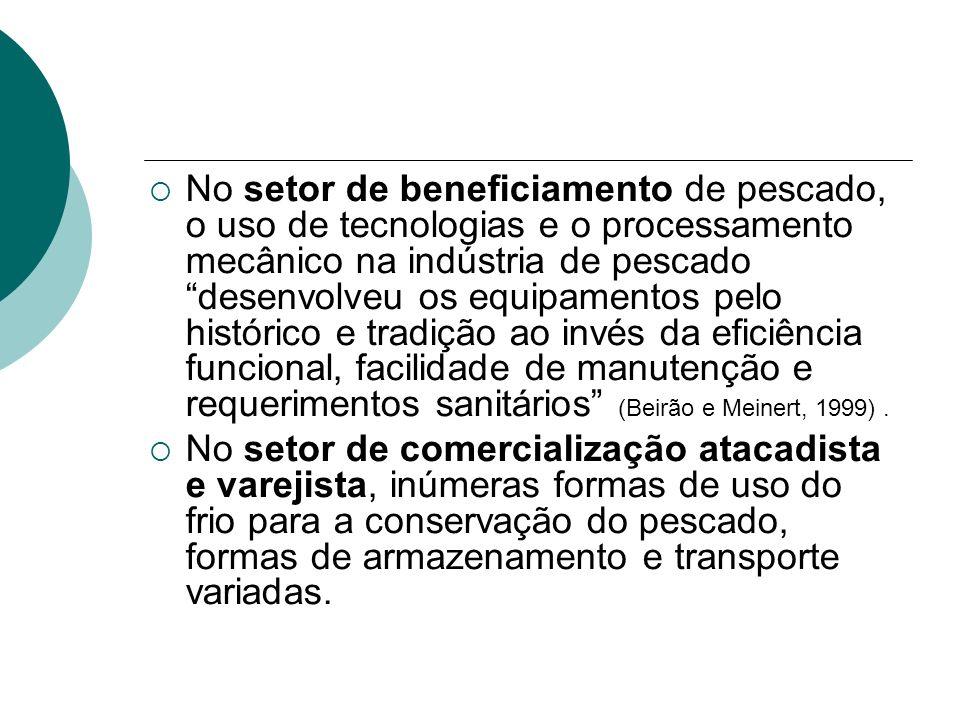 No setor de beneficiamento de pescado, o uso de tecnologias e o processamento mecânico na indústria de pescado desenvolveu os equipamentos pelo histórico e tradição ao invés da eficiência funcional, facilidade de manutenção e requerimentos sanitários (Beirão e Meinert, 1999) .