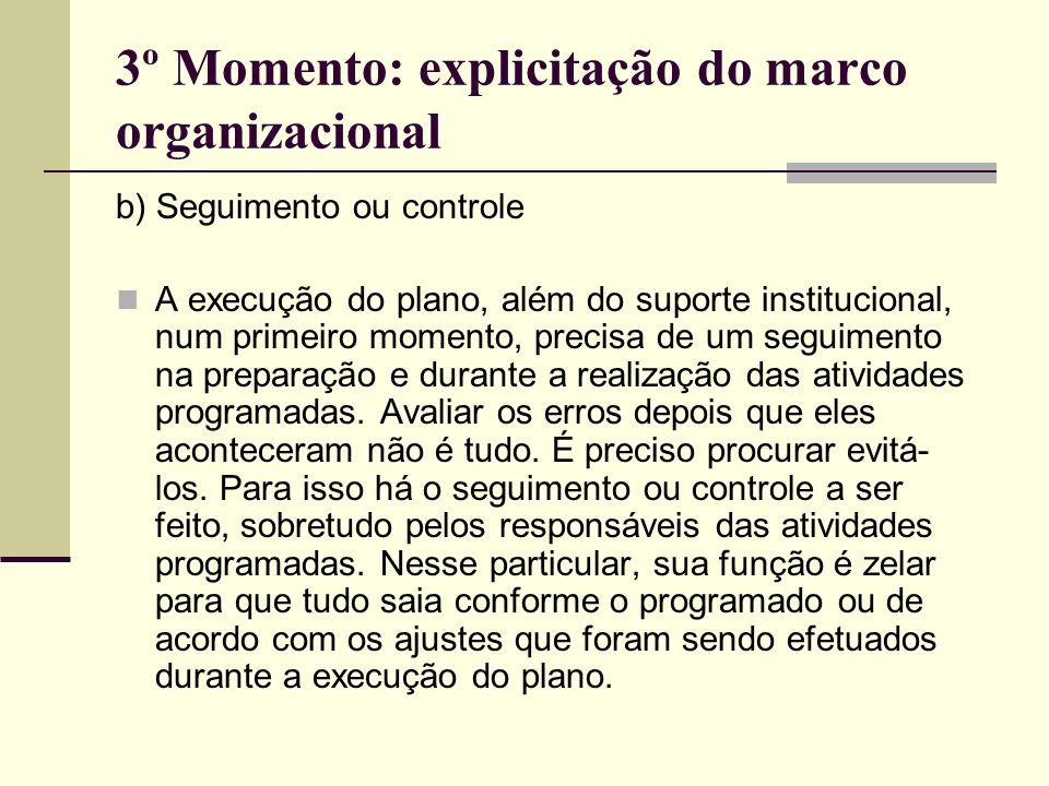 3º Momento: explicitação do marco organizacional