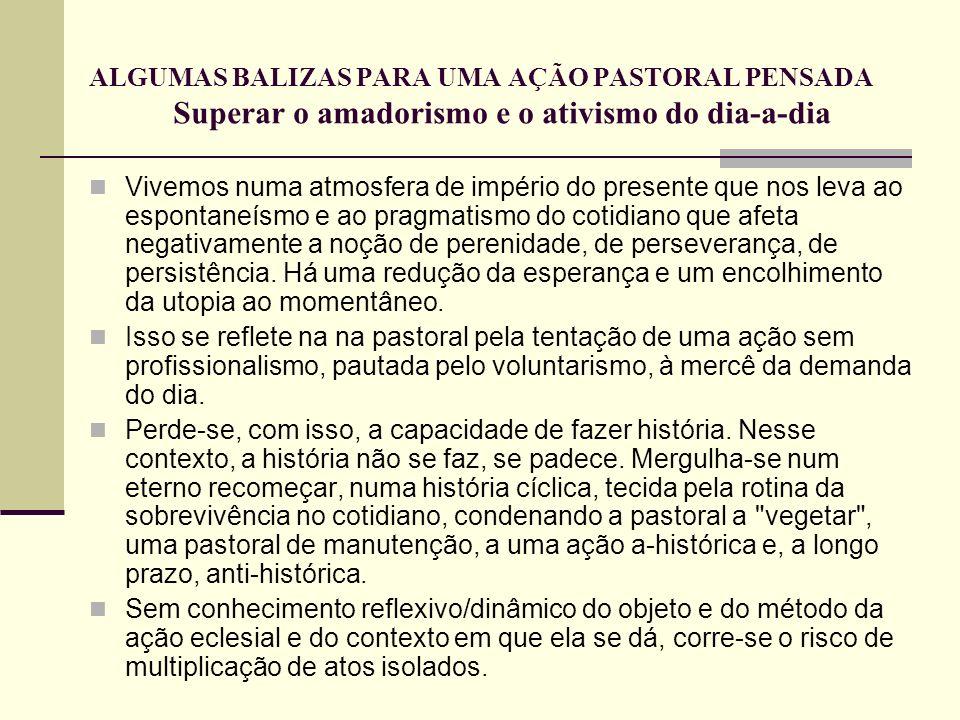 ALGUMAS BALIZAS PARA UMA AÇÃO PASTORAL PENSADA Superar o amadorismo e o ativismo do dia-a-dia
