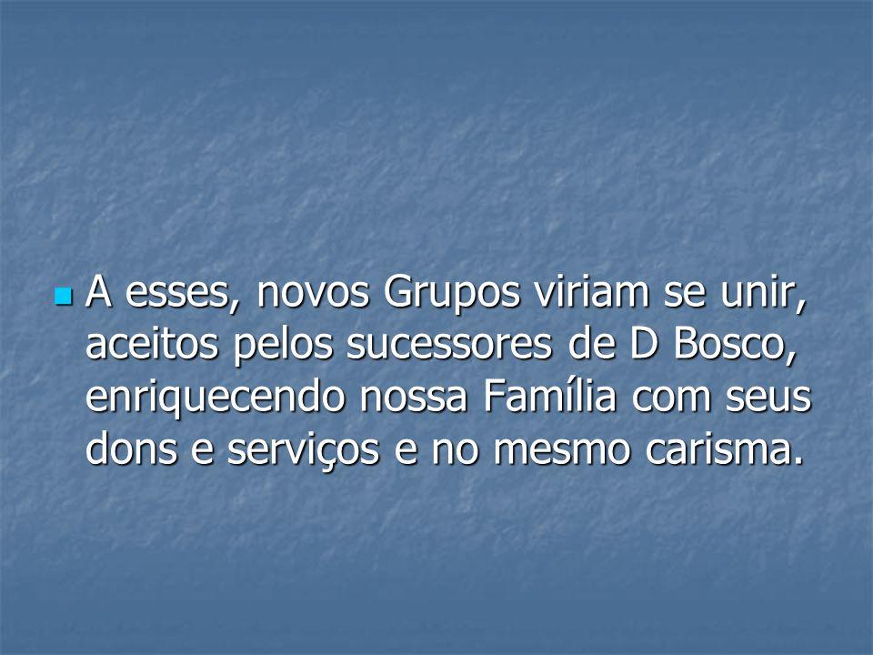 A esses, novos Grupos viriam se unir, aceitos pelos sucessores de D Bosco, enriquecendo nossa Família com seus dons e serviços e no mesmo carisma.