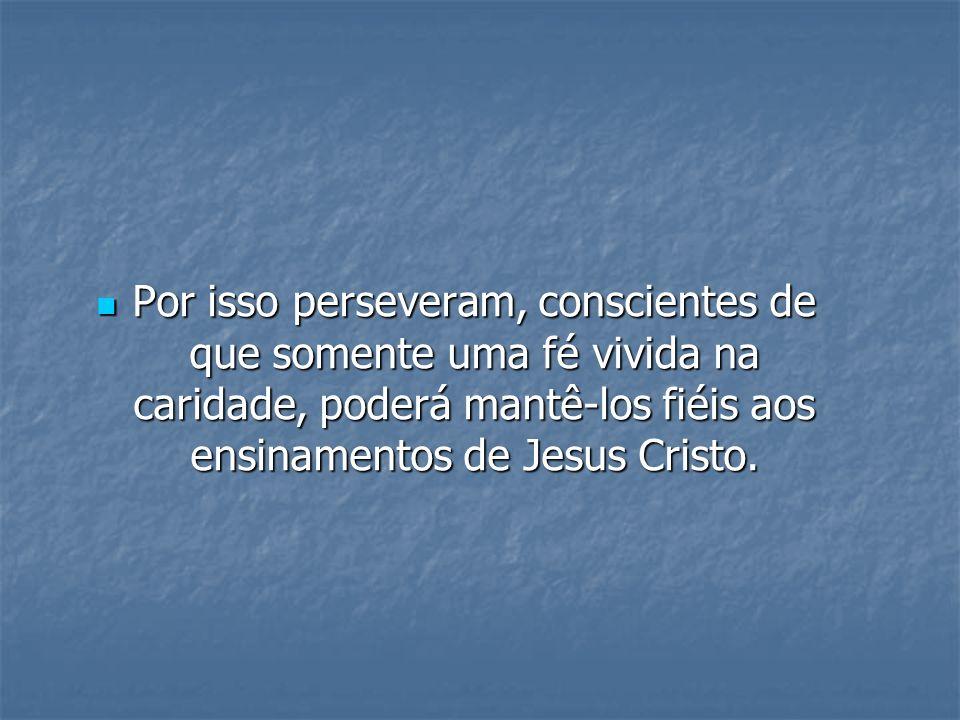 Por isso perseveram, conscientes de que somente uma fé vivida na caridade, poderá mantê-los fiéis aos ensinamentos de Jesus Cristo.