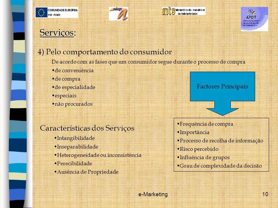 Serviços: 4) Pelo comportamento do consumidor