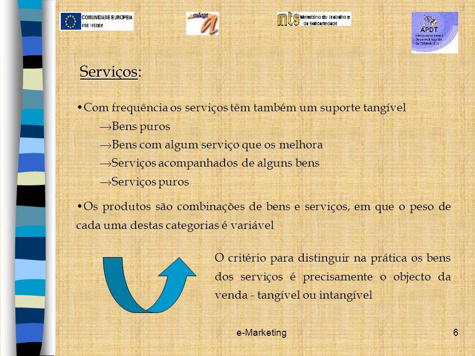 Serviços: Com frequência os serviços têm também um suporte tangível