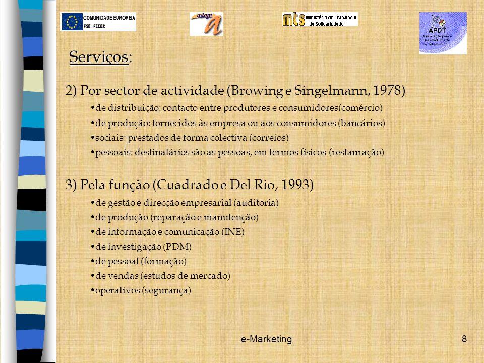 Serviços: 2) Por sector de actividade (Browing e Singelmann, 1978)
